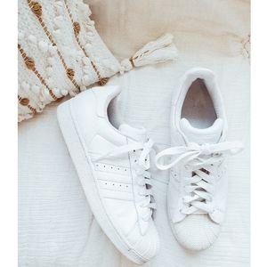 ADIDAS White Superstar II Retro Lace Up Sneakers